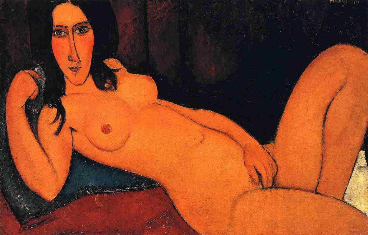"Amedeo Modigliani. Painting from the series ""Reclining Nude"""
