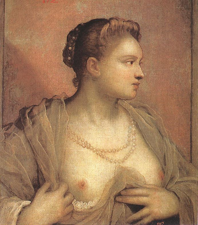 Portrait of a woman with an open chest