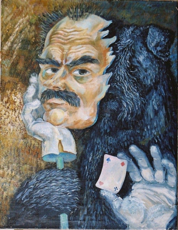 Автопортрет Ольби с маской хозяина