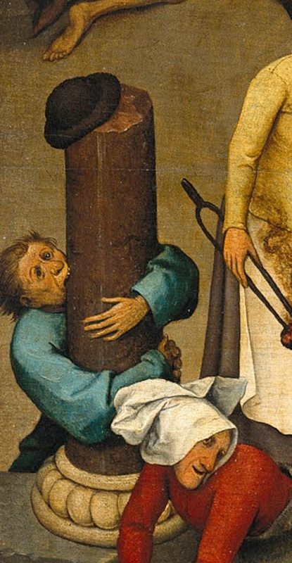 Pieter Bruegel The Elder. Flemish proverbs. Fragment: Biting the column - to be a religious prude