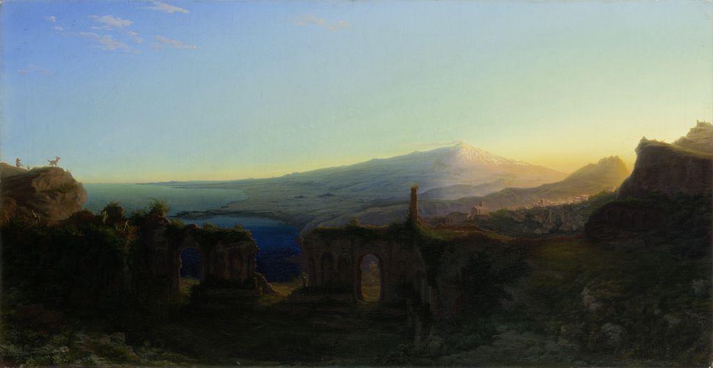 Август Копиш. Вид на гору Этна с руин театра в Тавромении на закате