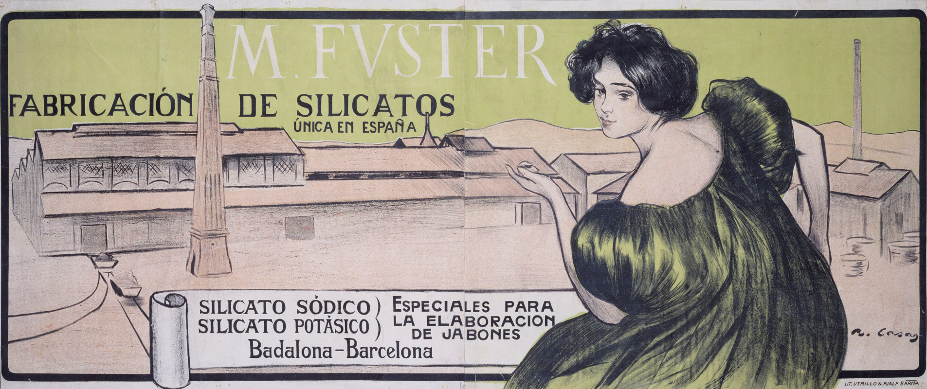 Ramon Casas i Carbó. Advertising poster silicate production