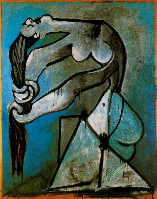 Пабло Пикассо. Обнаженная девушка с длинными волосами