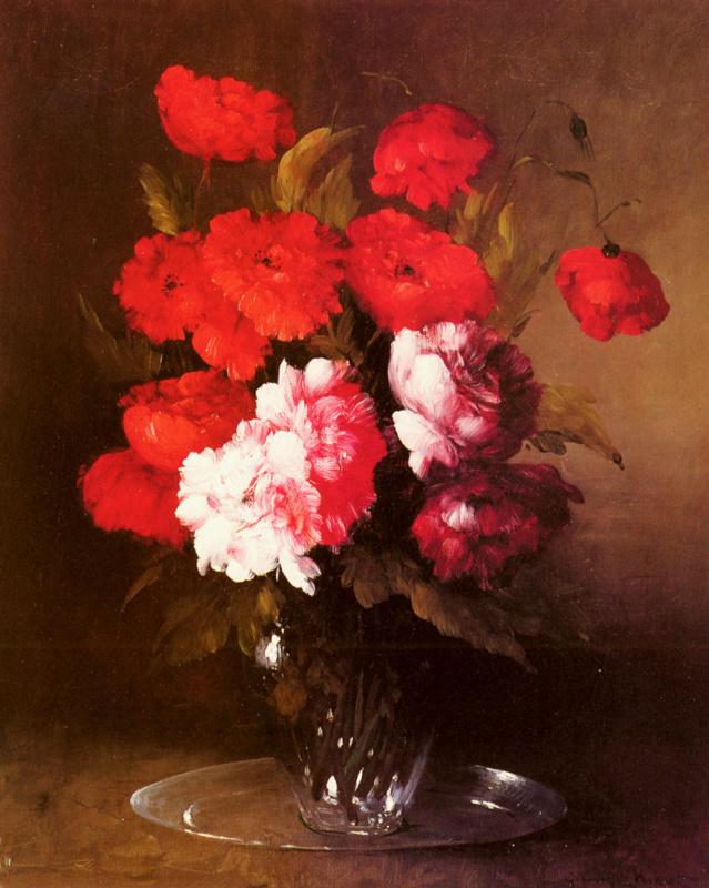 Огюстен Теодюль Рибо. Розовые пионы и маки в стеклянной вазе