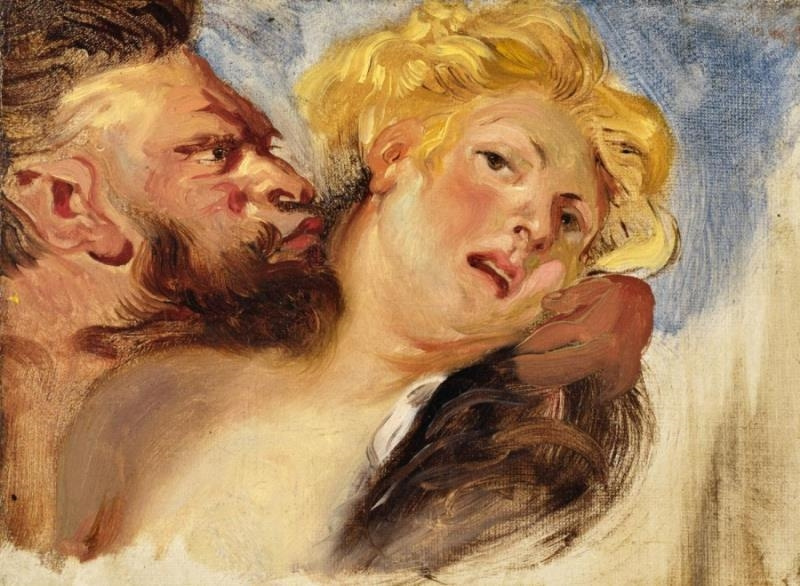 Eugene Delacroix. Satyr and nymph (by Rubens)