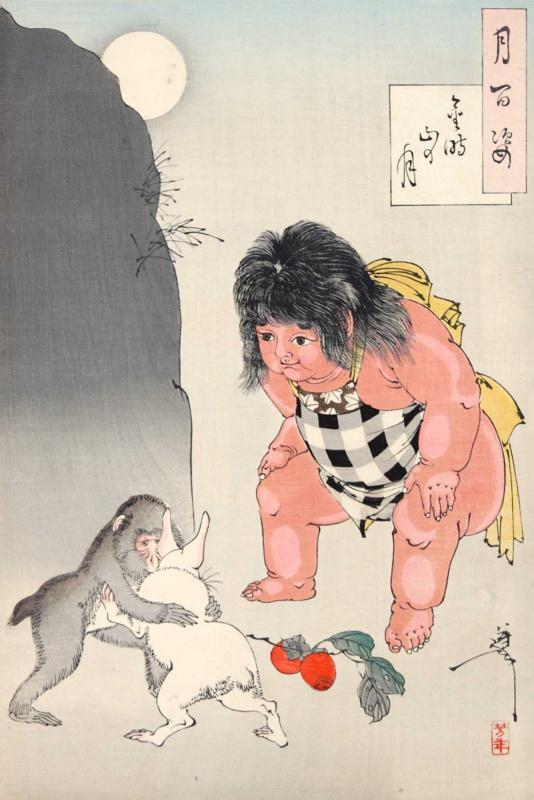 """Цукиока Ёситоси. Кинтаро судит поединок между обезьяной и кроликом. Серия """"100 видов луны"""""""