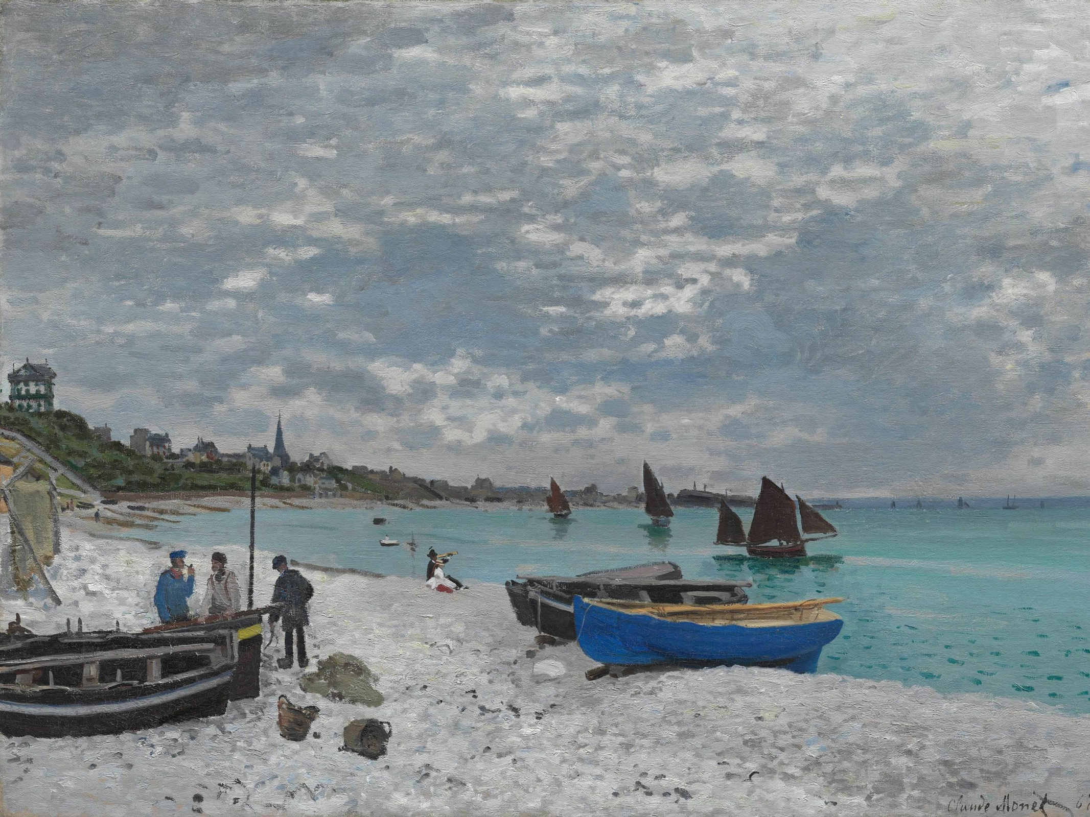 Claude Monet. The beach at Sainte-Adresse