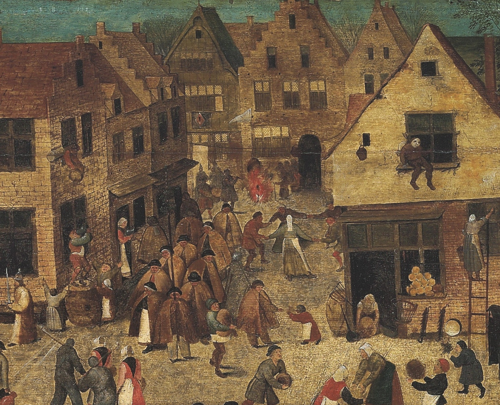 Peter Brueghel the Younger. Battle of carnival and Lent (canvas). Fragment VI