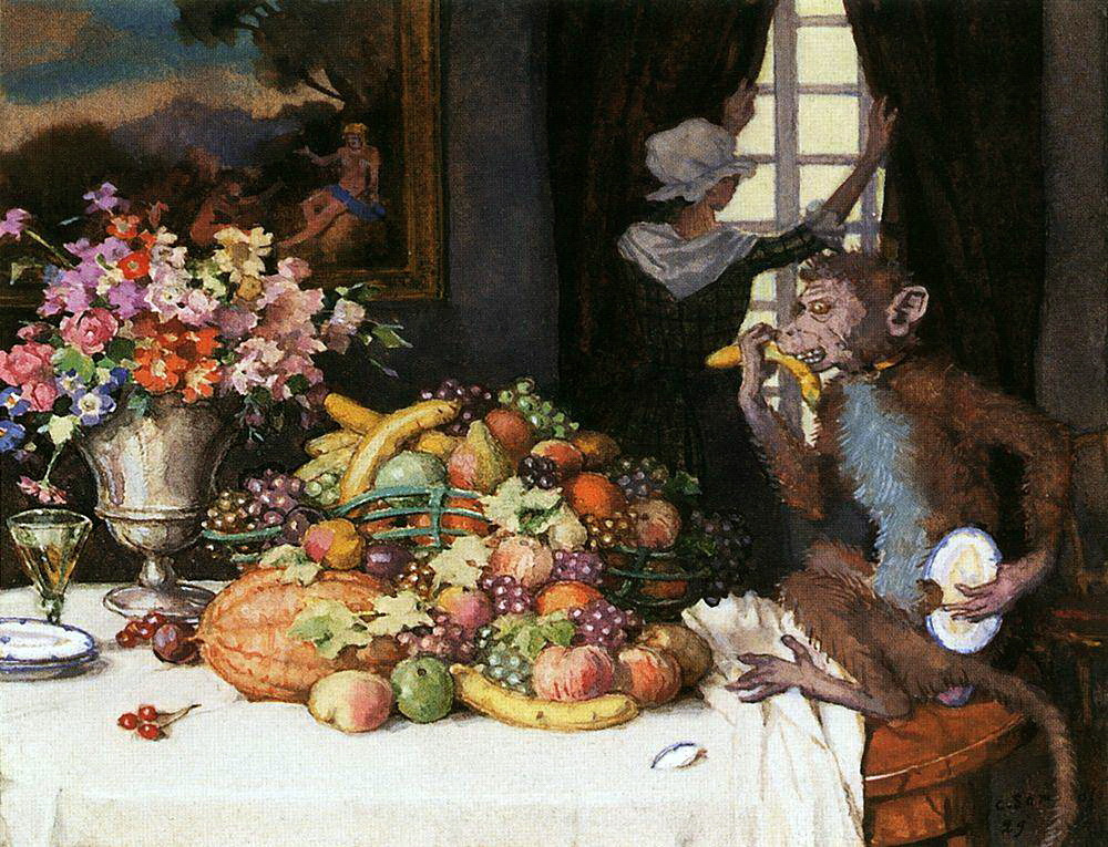 Константин Андреевич Сомов. Жадная обезьянка