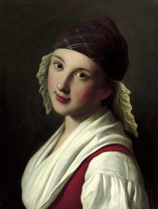 Портрет женщины с клетчатым шарфом с кружевной отделкой, красным жилетом и белой блузке