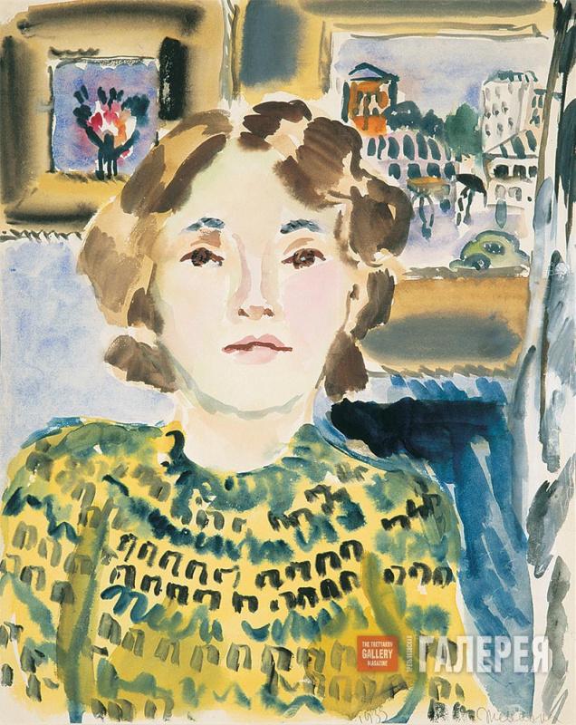 Татьяна Алексеевна Маврина. Автопортрет на фоне картин