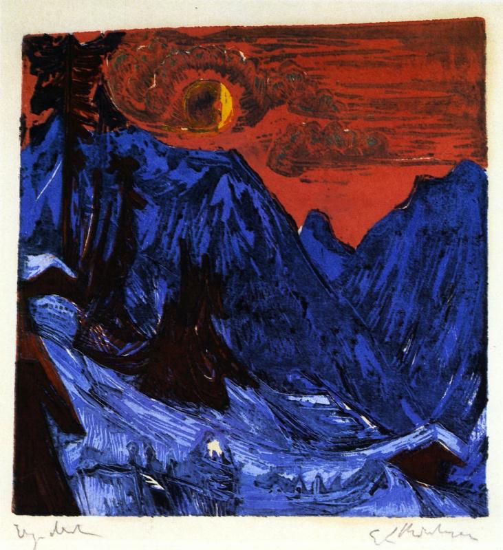 Ernst Ludwig Kirchner. Winter landscape in the moonlight