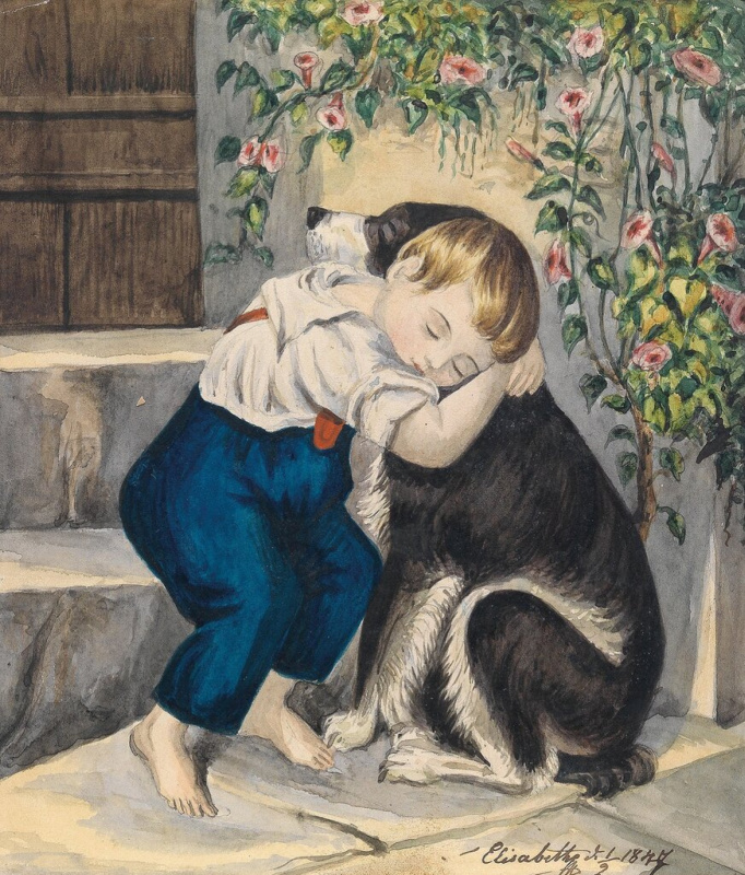 Princess Elizabeth Bavarian. Boy with a dog (drawing by Princess Elizabeth of Austria)