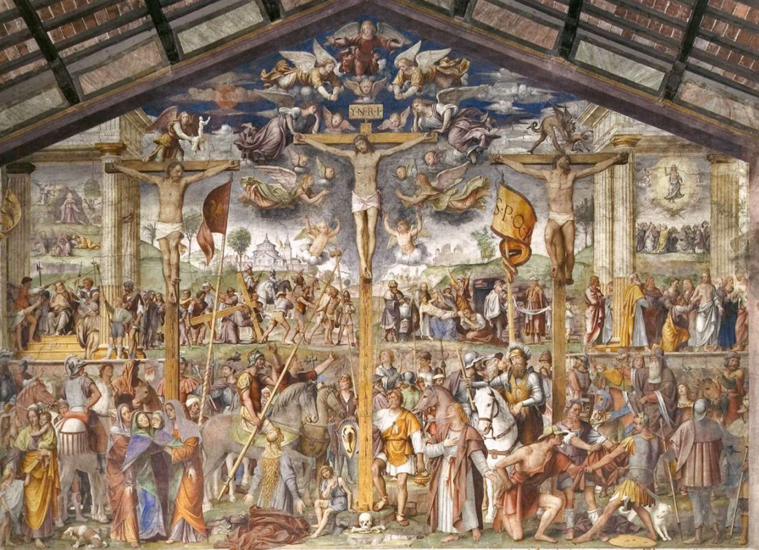 The crucifixion and scenes from the life of Jesus Christ