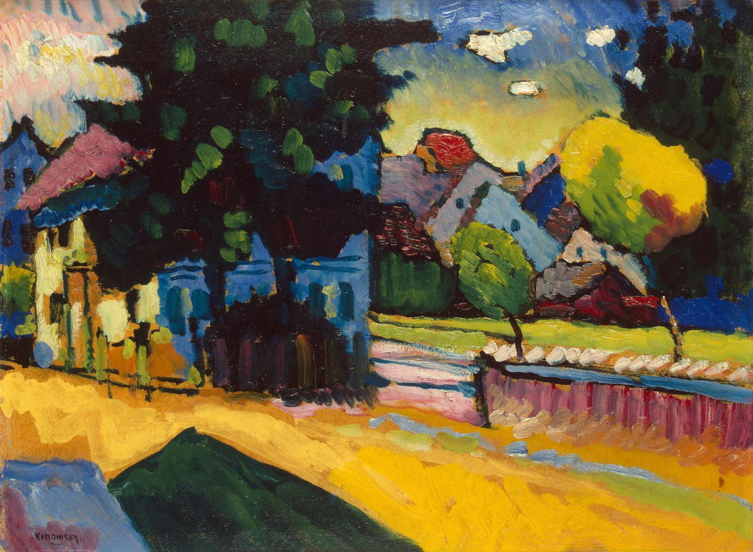 """Wassily Kandinsky. View Of Murnau. The sketch for the painting """"Landscape with green house"""""""