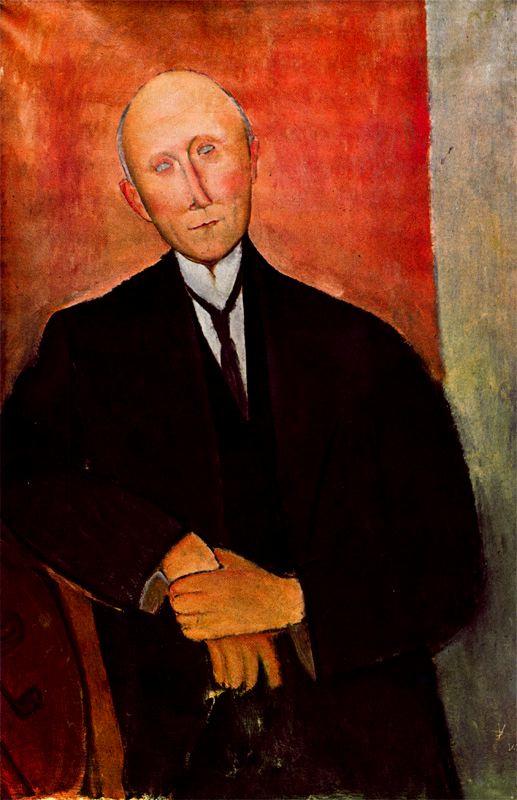 Амедео Модильяни. Портрет сидящего мужчины на оранжевом фоне