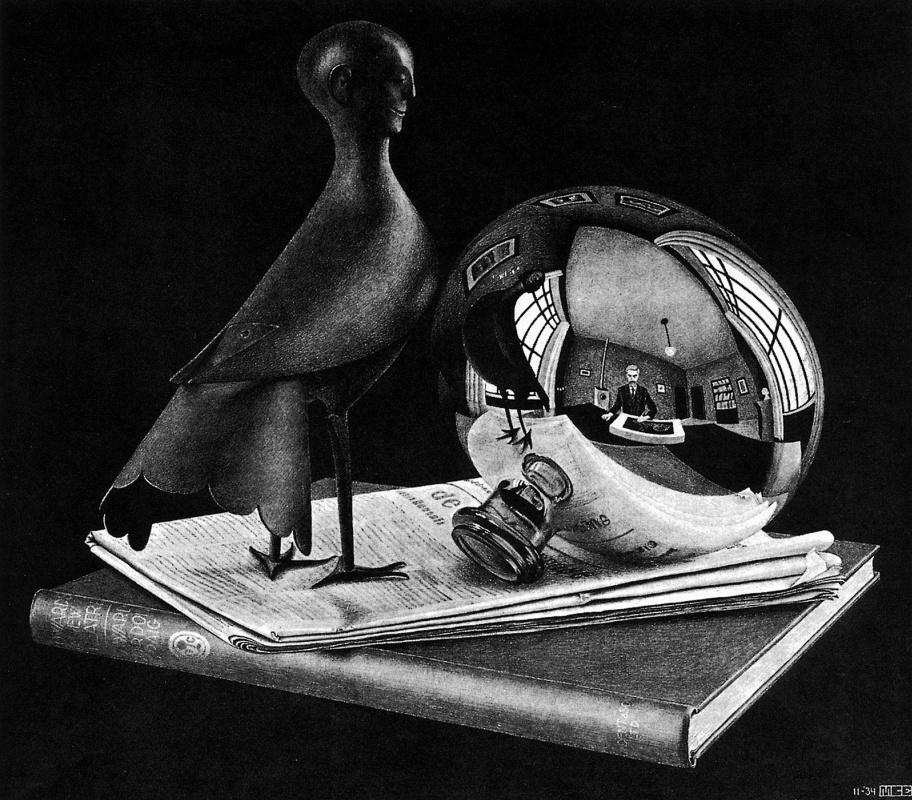 Maurits Cornelis Escher. Still life with a spherical mirror