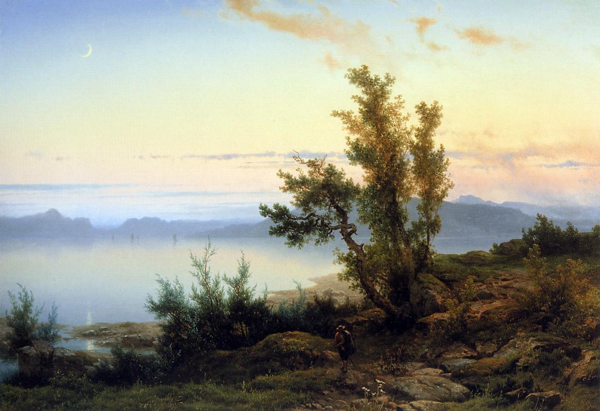 Cornelis List. Wanderer on the edge of a mountain lake