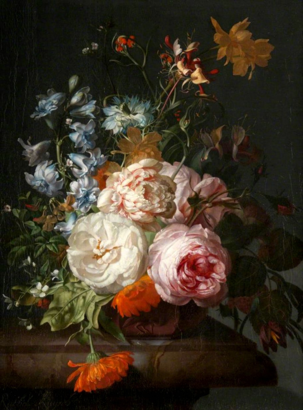 Rachelle Ruysch. Roses, marigolds, hyacinths and other flowers on a marble ledge