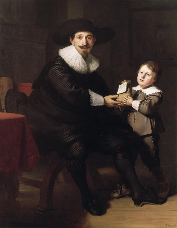 Rembrandt Harmenszoon van Rijn. Portrait of Jan Pellicone with his son Gaspar