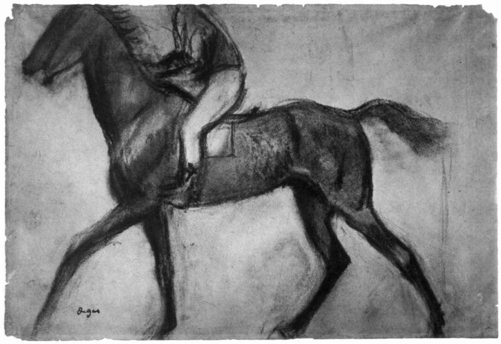 Edgar Degas. Jockey on a trotting horse walking in profile