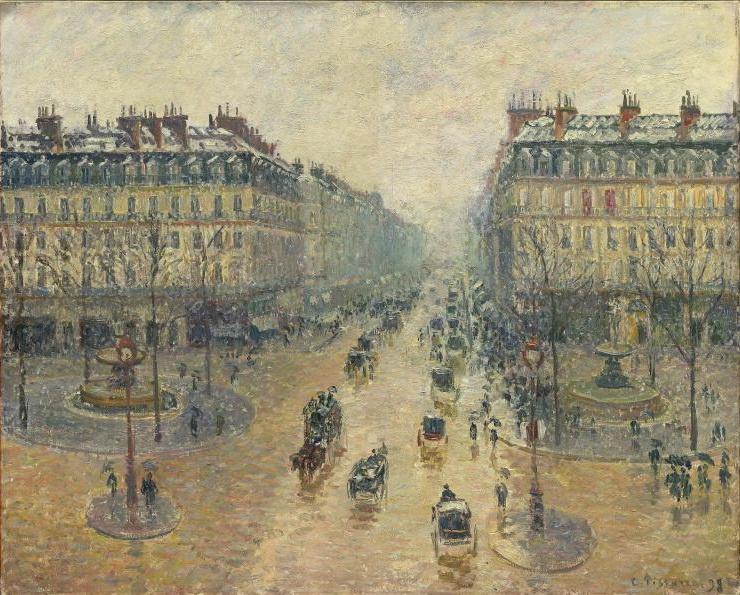 Camille Pissarro. The Avenue De L'Opera, Paris, Sunlight, Winter Morning