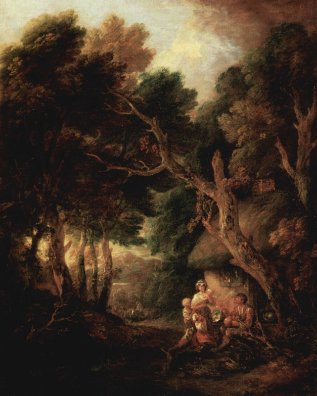 Thomas Gainsborough. A peasant Smoking a pipe at the door of the hut