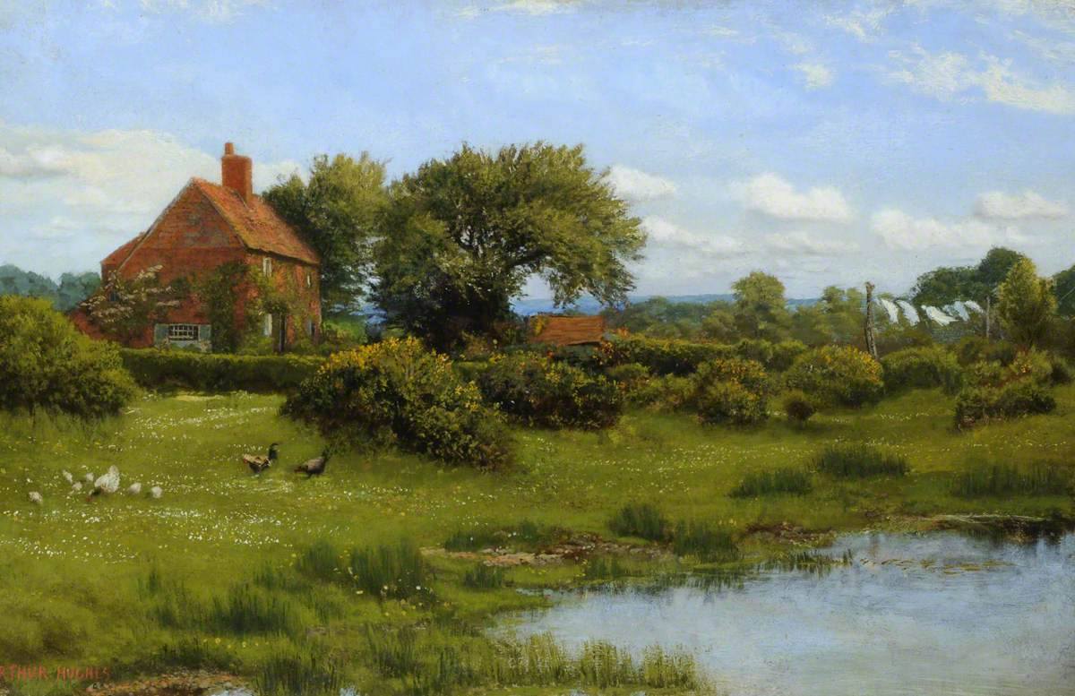 Arthur Hughes. House by the pond at Bargfield
