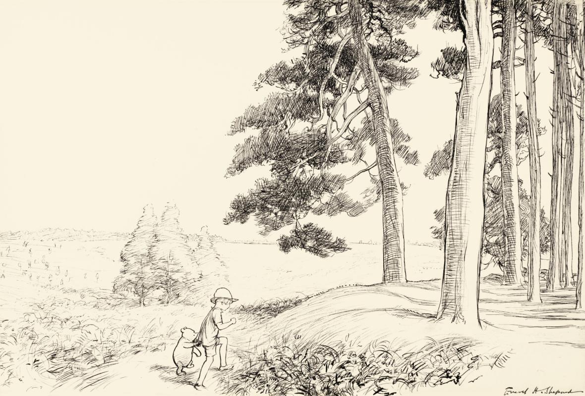 Эрнест Шепард. Кристофер Робин и Винни-Пух в Зачарованном месте. Иллюстрация к книге «Винни-Пух» А. А. Милна