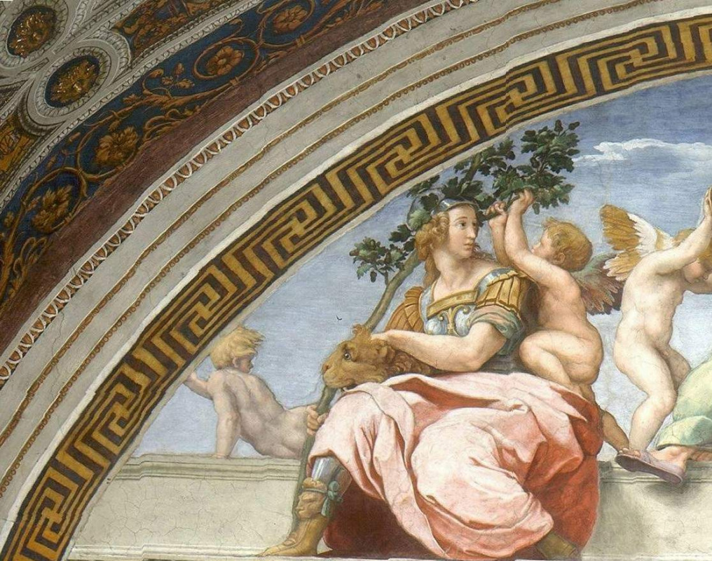 """Raphael Sanzio. The stanza della senyatura. The fresco of """"Virtue and law"""". Snippet: the Strength of an oak-branch in his hands"""