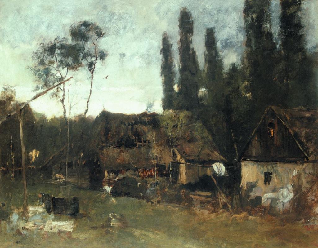 Михай Либ Мункачи. Пейзаж с крестьянскими домами