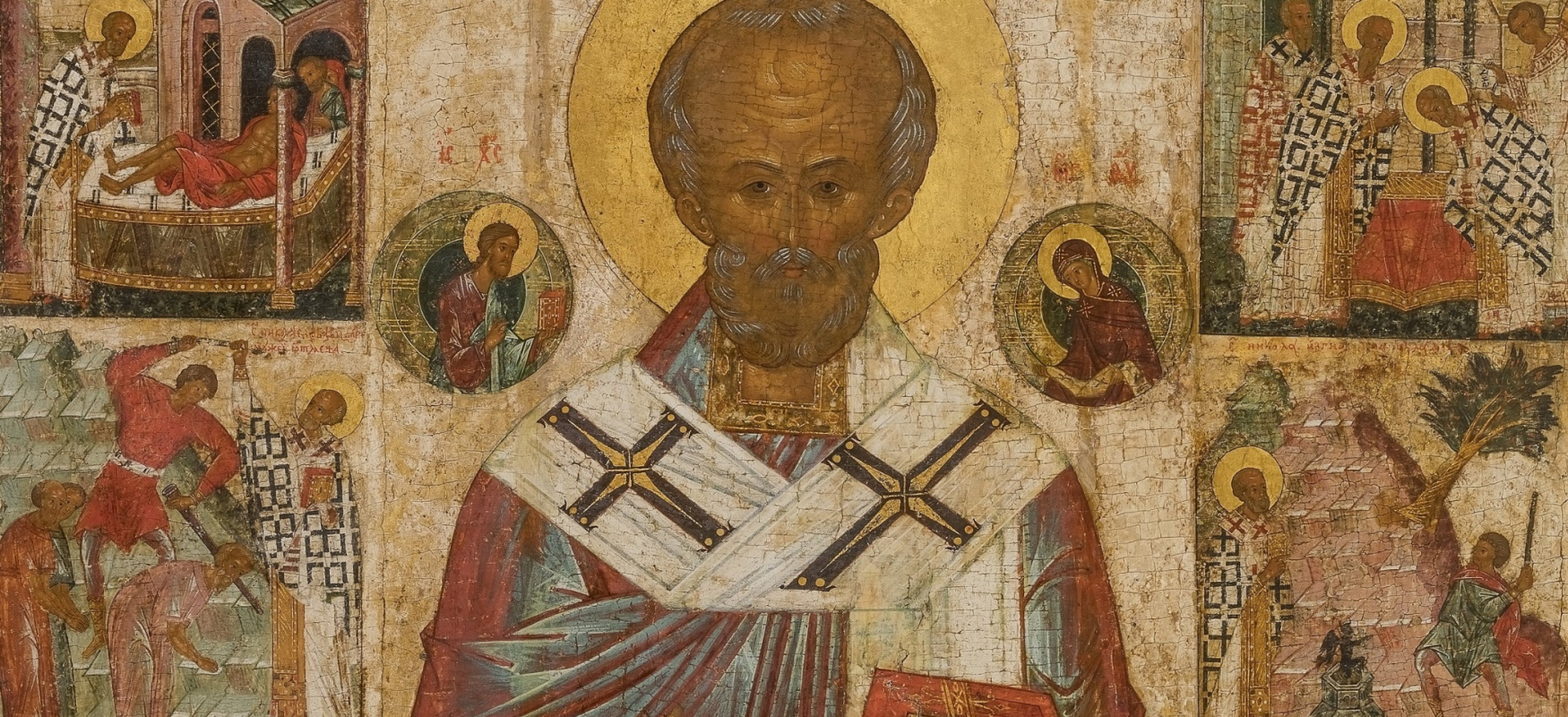 Icon Painting. St. Nicholas the Wonderworker, with a living. Fragment