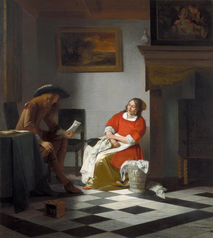 Питер де Хох. Мужчина читает женщине письмо