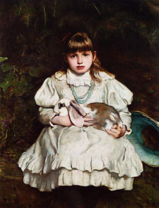 Фрэнк Холл. Маленькая девочка с кроликом