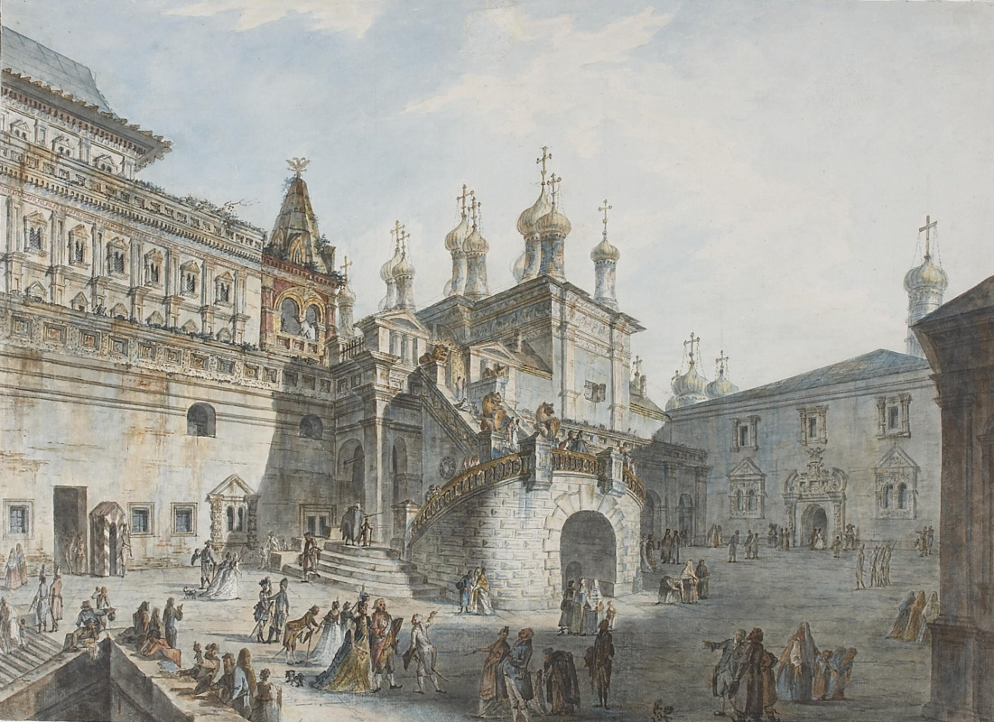 Fedor Yakovlevich Alekseev. Boyar ground in the Kremlin. View from the West side
