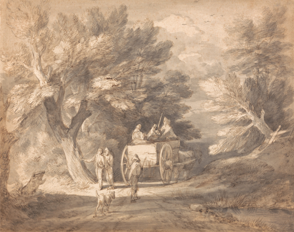 Thomas Gainsborough. Forest landscape with a peasant wagon and walking a pair