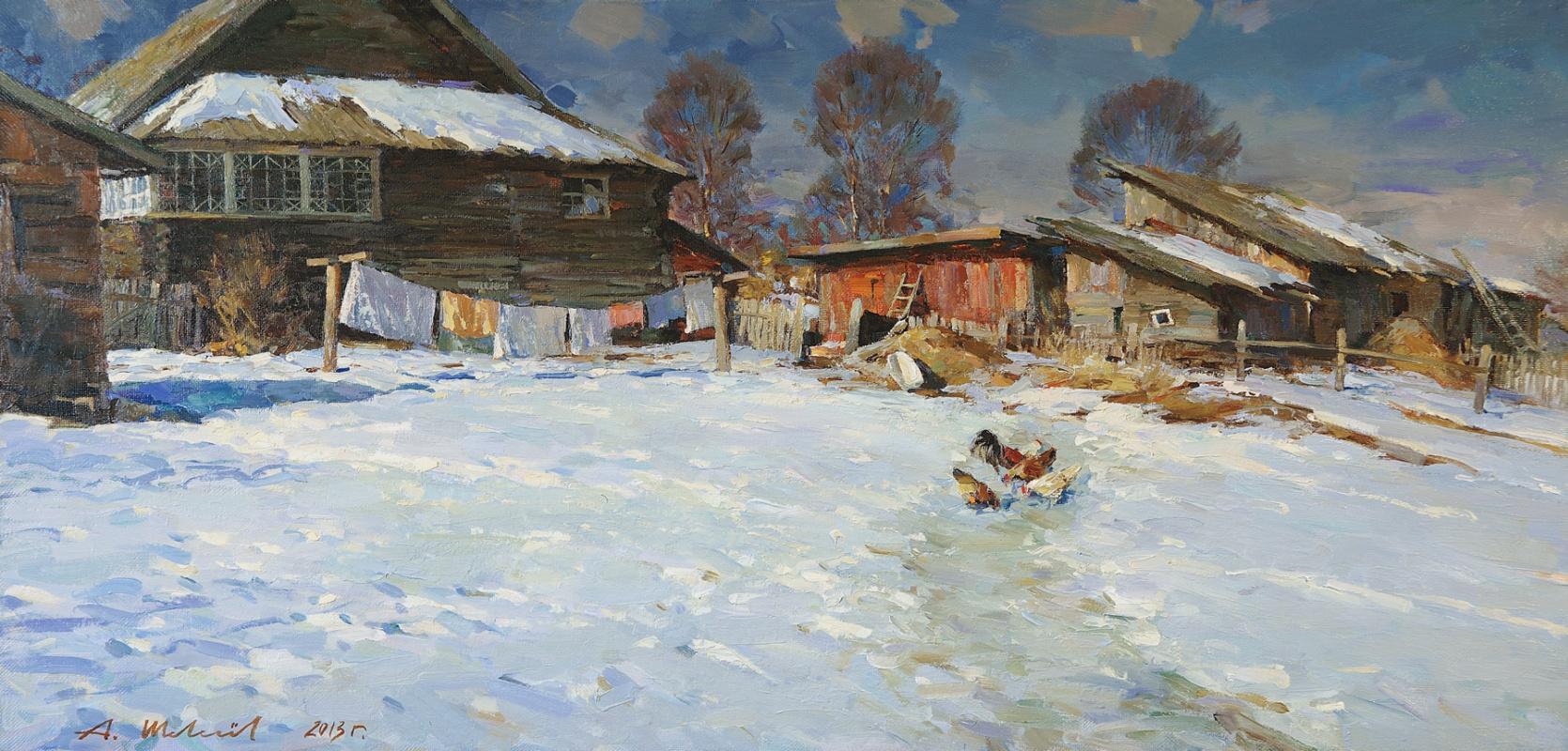 Alexander Shevelyov. Melting snow in Sherehovichi.Oil on canvas 52 # 105,2 cm 2013