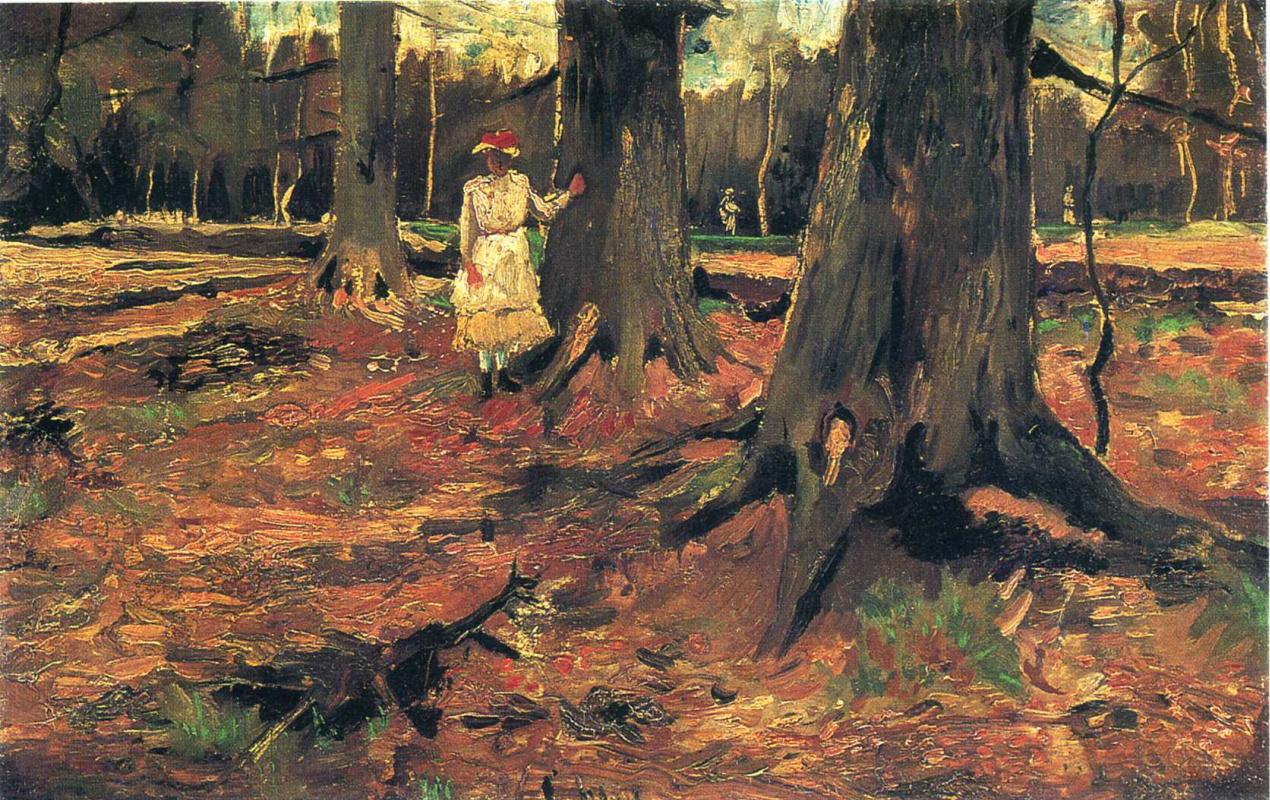 Винсент Ван Гог. Девушка в белом среди деревьев