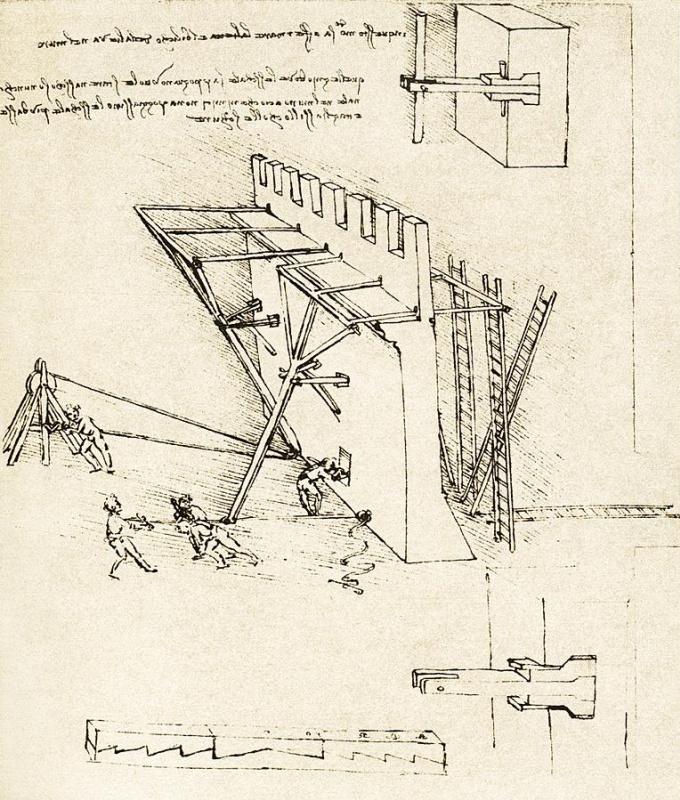 Леонардо да Винчи. Устройство для отталкивания лестниц противника