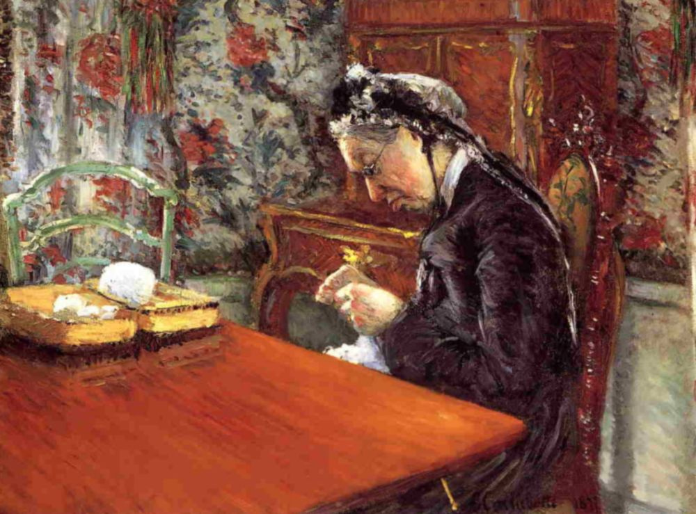 Gustave Caillebotte. Portrait of Madame Boise. Knitting