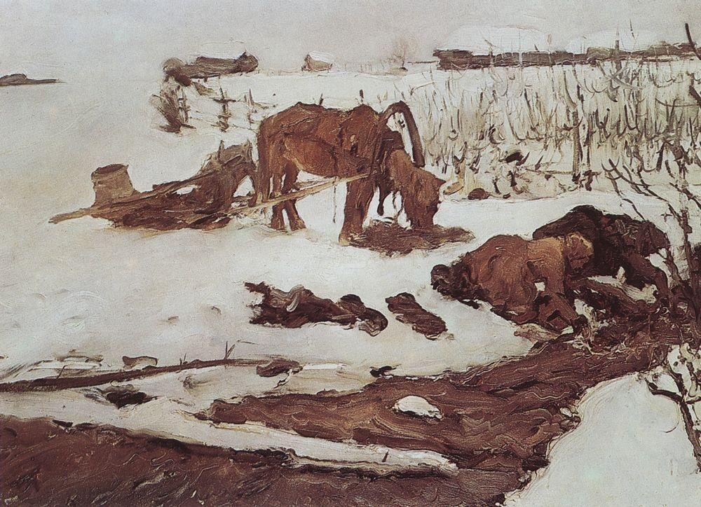 Валентин Александрович Серов. Полосканье белья (На речке)