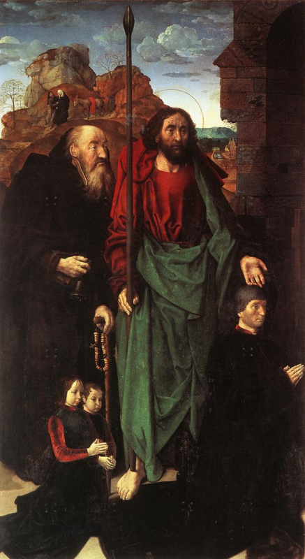 Hugo van der Gus. Saints Anthony and Thomas with Tommaso Portinari