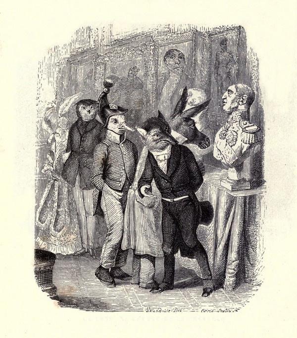 Жан Иньяс Изидор (Жерар) Гранвиль. Лисица и Бюст.  Иллюстрации к басням Жана де Лафонтена