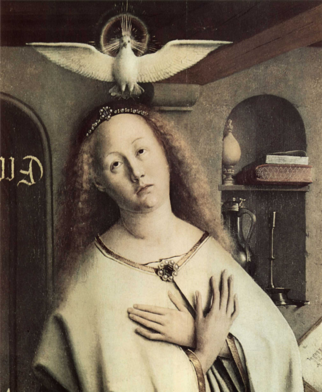 Хуберт ван Эйк. Гентский алтарь. Благовещение. Деталь: Мария со святым духом