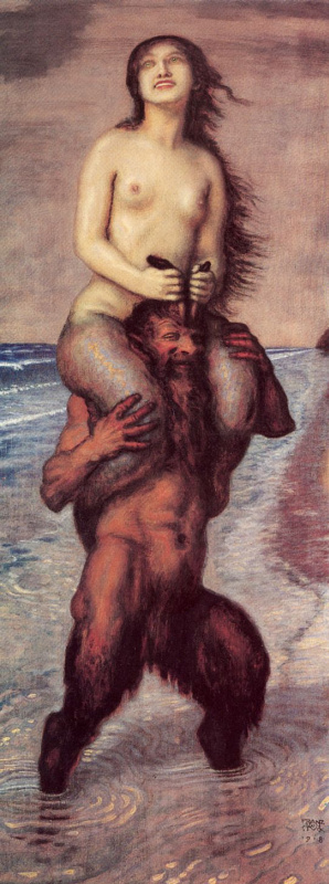 Franz von Stuck. Faun and mermaid