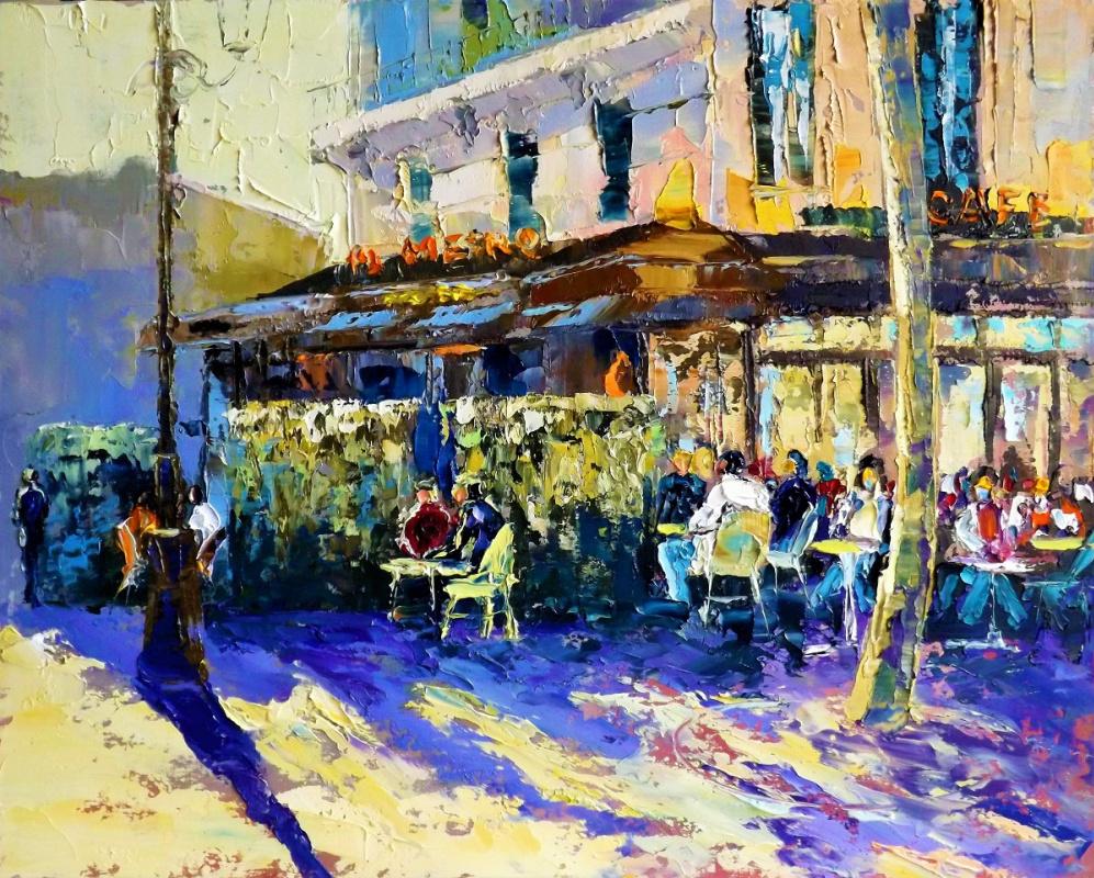 Sergey Yurievich Efremov. Autumn morning Paris cafe