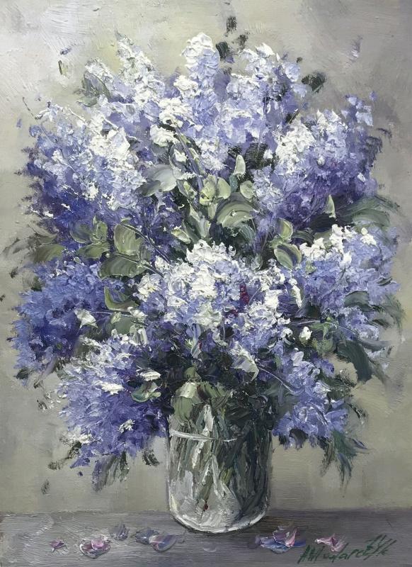 Andrzej Wlodarczyk. A bouquet of lilac in a glass vase