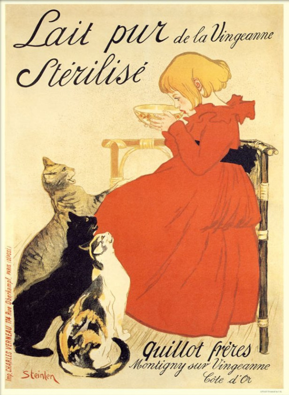 "Theophile-Alexander Steinlen. Promotional poster ""Pure sterilized milk from the banks of Venzhanna!"""