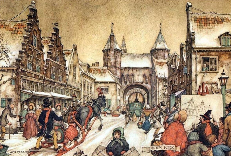 Anton Pieck. City scenes. Amersfoort