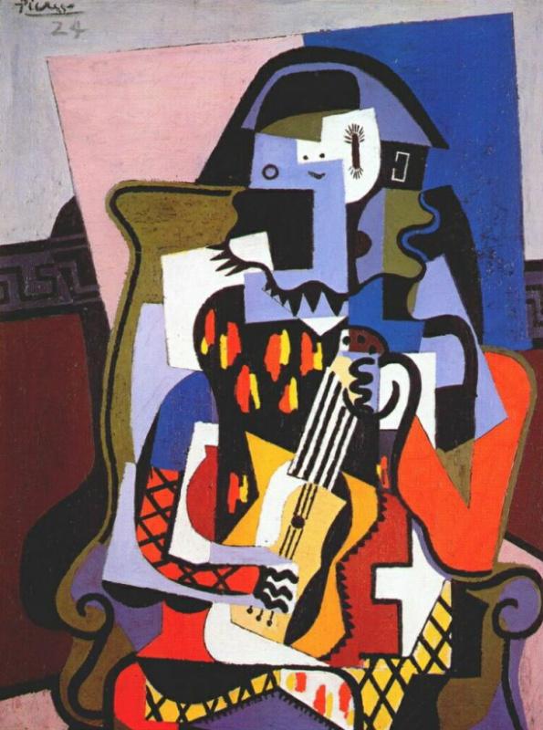 Пабло Пикассо. Арлекин-музыкант